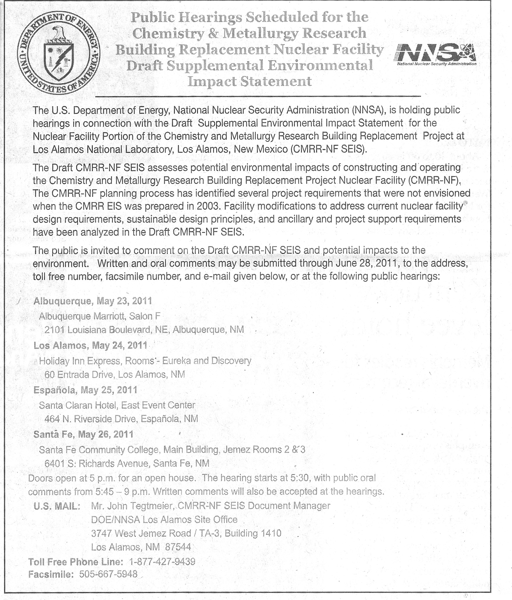 Supplemental Environmental Impact Statement Meetings